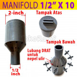 Manifold Irigasi 1/2-inch x 10-titik (Termasuk Nepel Ulir)